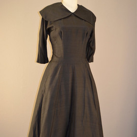 vintage - 1940s casual day Black vintage dress