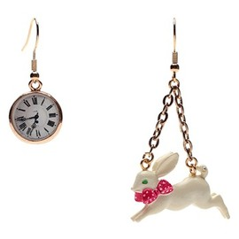 N2 - N2 Multicoloured Alice Clock/White Rabbit Earrings