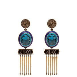 GUCCI - Resort 2019 GG scarab and tassel-drop clip-on earrings
