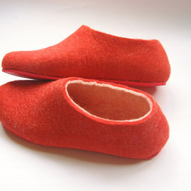 Felted Slipper with Red Rubber Flat Sole. Indoor Outdoor. Womens. Custom made