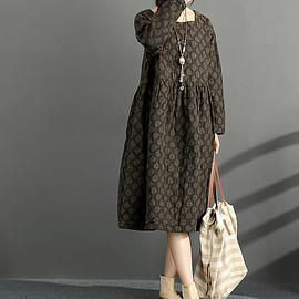 long dress - Cotton and linen loose long dress printed large size long winter bottoming dress