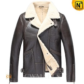 Cwmalls - Boston Brown Sheepskin Bomber Jacket CW857185