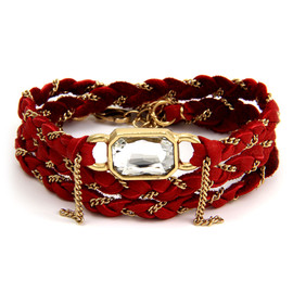 Ettika - Crystal Baguette Braided Gold Chain with Red Deerskin Leather Wrap Bracelet