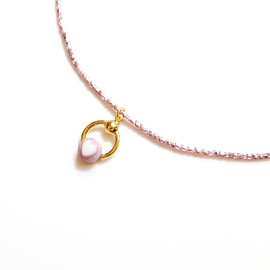 LANIE - Vintage Heart Ring Choker/Necklace Glitter Pink