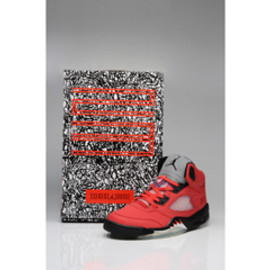 "Basketball Sneakers ""Varsity Red"" and Black Retro Jordan 5(V) Mens Style - Glow Dark"