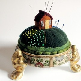 Tiny House pincushion in an antique hair receiver