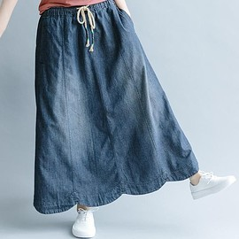 denim skirt - Skirts for women, maxi skirt, Cotton long skirt, Vintage denim skirt