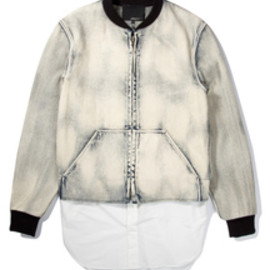 3.1 Phillip Lim - 3.1 Phillip Lim | Light Indigo Zip Front Athletic Jacket with Detachable Poplin Tail