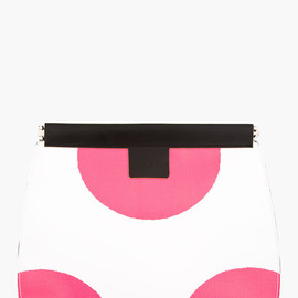 MARNI EDITION - White & Pink Leather Graphic Slim Clutch