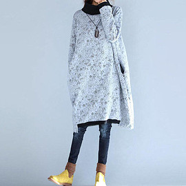 high collar cotton dress Large size Bottom dress in Gray Casual Dresses for Women