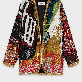CELINE - SS2019 Embroidered kimono jacket in wool crepe CHRISTIAN MARCLAY 'BRAAOWN'