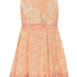 ANNA SUI - Madeleine lace-trimmed printed silk dress