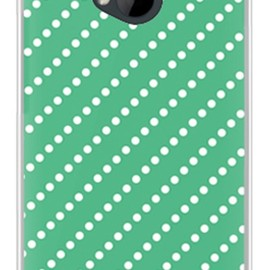 SECOND SKIN - ドットストライプ グリーン×ホワイト (ソフトTPUクリア) / for HTC J One HTL22/au