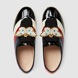 GUCCI - FW2017 Falacer patent leather sneaker with Web