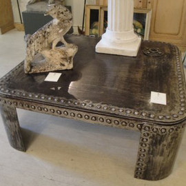 19th Century French Industrial Steel Coffee Table.
