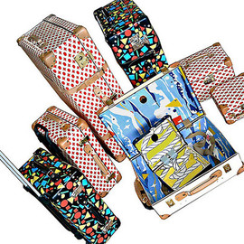 "GLOBE-TROTTER×ELEY KISHIMOTO - 18"" TROLLEY CASE ocean view & 16"" SLIM ATTACHE CASE ropey"