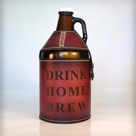 Stainless Steel Growler & Leather Growler Carrier With Strap