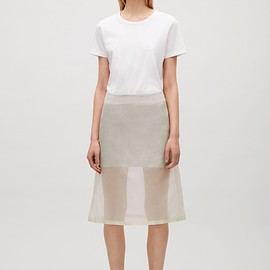 COS - Micro-check silk skirt in Ivory