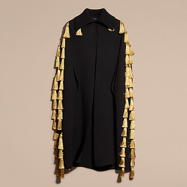 BURBERRY - SS2017 Wool Blend Military Cape with Tassels