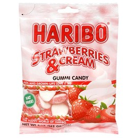 HARIBO - Haribo Gummi Candy, Strawberries and Cream, 5-Ounce Bags (Pack of 12)