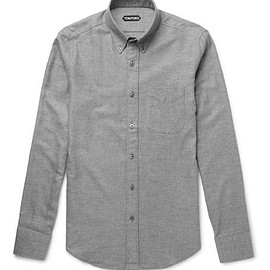 TOM FORD - Slim-Fit Button-Down Collar Waffled Cotton Shirt