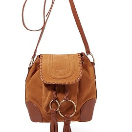 See by Chloé - Polly taseled leather-trimmed suede shoulder bag