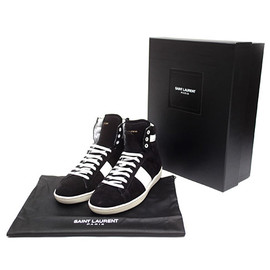 SAINT LAURENT PARIS - COURT CLASSIC SL/02 H Hi-Top sneakers black & optic white / suede leather suede 330264 BT3201091