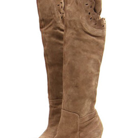 Roman Style Retro Floral Cutout Over-the-knee High-heeled Boots