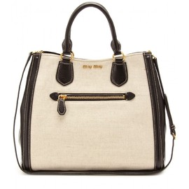 miu miu - LEATHER-TRIMMED CANVAS TOTE