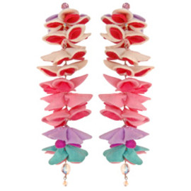 "Tarina Tarantino - KYOTO CARNIVAL ""HONEYCOMB"" COUTURE FELT FLOWER DROP EARRINGS"