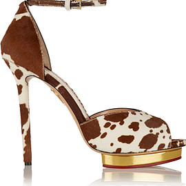 Charlotte Olympia - SS2015 Savannah printed calf hair sandals
