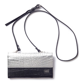 "HEAD PORTER - ""CROCO"" SHOULDER POUCH BLACK/SILVER"