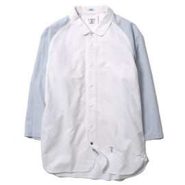 "BEDWIN - ""Tim"" 8/S Baseball Shirt Faded White x Gray"