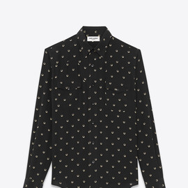 Saint Laurent Paris - Western Shirt (Black & Ivory / Horseshoe Print Silk Crepe)