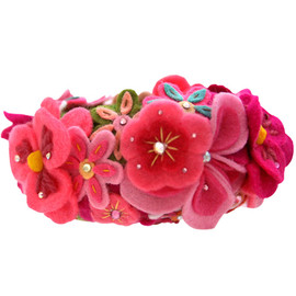 "TARINA TARANTINO - KYOTO CARNIVAL ""FERRIS WHEEL"" FELT FLOWER CROCHET BANGLE"