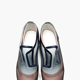 JIL SANDER - Mesh & Pink Leather Oxford Flats
