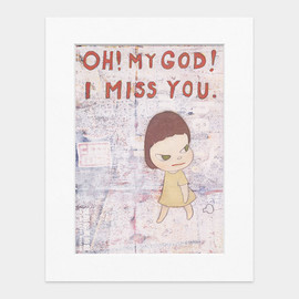Yoshitomo Nara - OH! MY GOD! I MISS YOU Matted Print