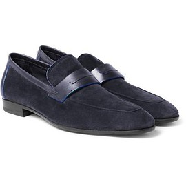 Berluti - Lorenzo Leather-Trimmed Suede Loafers