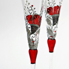 NevenaArtGlass - Wedding Toasting Champagne Flutes