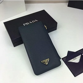 PRADA - Prada 1M1213 Triangle Logo Saffiano Leather Card Wallet In Navy Blue