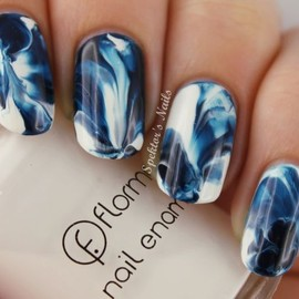 Blue & White Watercolor Nails with Sally Hansen Night Watch & Flormar 400