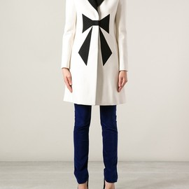 LOVE MOSCHINO - White Bow Front Coat
