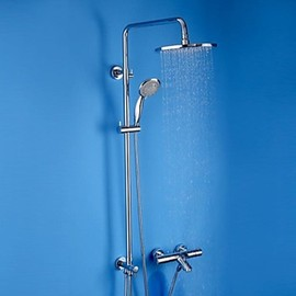 Faucetsmall - Chrome Finish Brass Thermostatic Shower Faucet with Air Injection Technology Shower Head