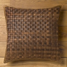 Restoration Hardware - Basket Weave Leather Pillow Cover Brown