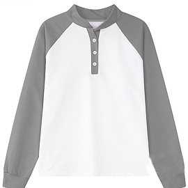 Romwe - Stand Collar Contrast Sleeve Grey White Sweatshirt