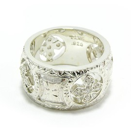 engraved wide band w/4 stones etched gothic cross rounds/リング