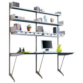 Rexite - Trieste Wall-Mount Bookcase System with Table Double Composition