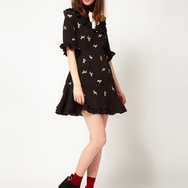 Nishe - Horse Embroidered Frill Dress