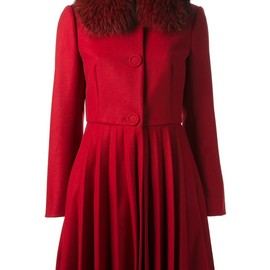RED VALENTINO - Fox fur collar coat