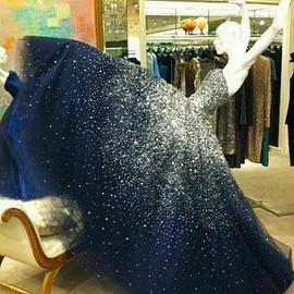 Navy Blue Sweetheart Sparkle Starry Night Long Prom Dress